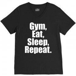 Eat Sleep Gym Repeat V-Neck Tee | Artistshot