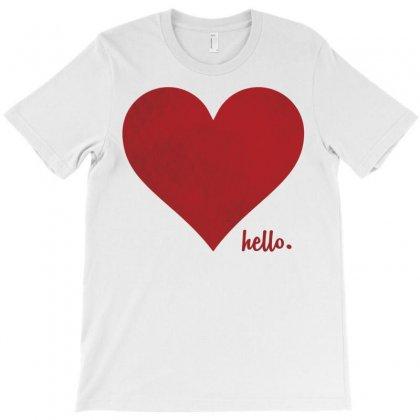 Hello Love Red Heart T-shirt Designed By Tshiart