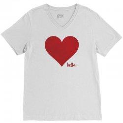 Hello Love Red Heart V-Neck Tee | Artistshot