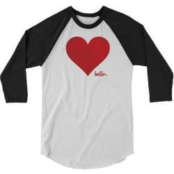 Hello Love Red Heart 3/4 Sleeve Shirt | Artistshot