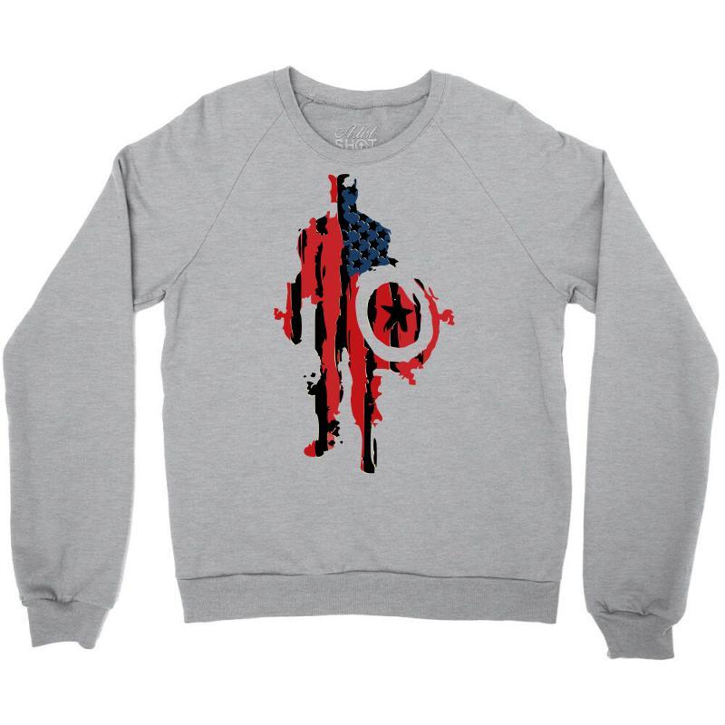d15861d6fa0530 Custom Captain America Flag Abstract Crewneck Sweatshirt By ...