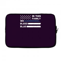 in this family we bleed blue funny Laptop sleeve | Artistshot