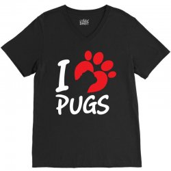 I Love Pugs V-Neck Tee   Artistshot