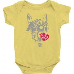screaming wolf love you Baby Bodysuit | Artistshot