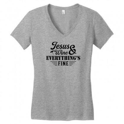 Jesus Wine & Everythings Fine Women's V-neck T-shirt Designed By Tshiart