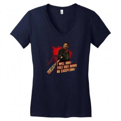 Negan Women's V-neck T-shirt Designed By Vr46