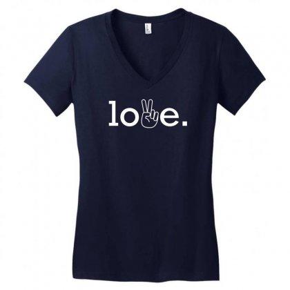 Love Women's V-neck T-shirt Designed By Designbysebastian