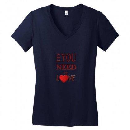 Love Women's V-neck T-shirt Designed By Sefaarioglu