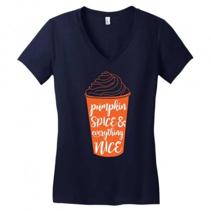 Halloween Pumpkin Spice And Everything Nice Funny Women's V-neck T-shirt Designed By Mdk Art
