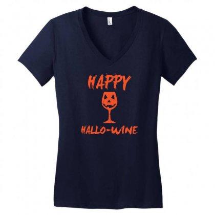 Halloween Happy Hallowine Funny Women's V-neck T-shirt Designed By Mdk Art