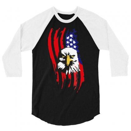 American Eagle Usa Flag Head 3/4 Sleeve Shirt Designed By Sbm052017