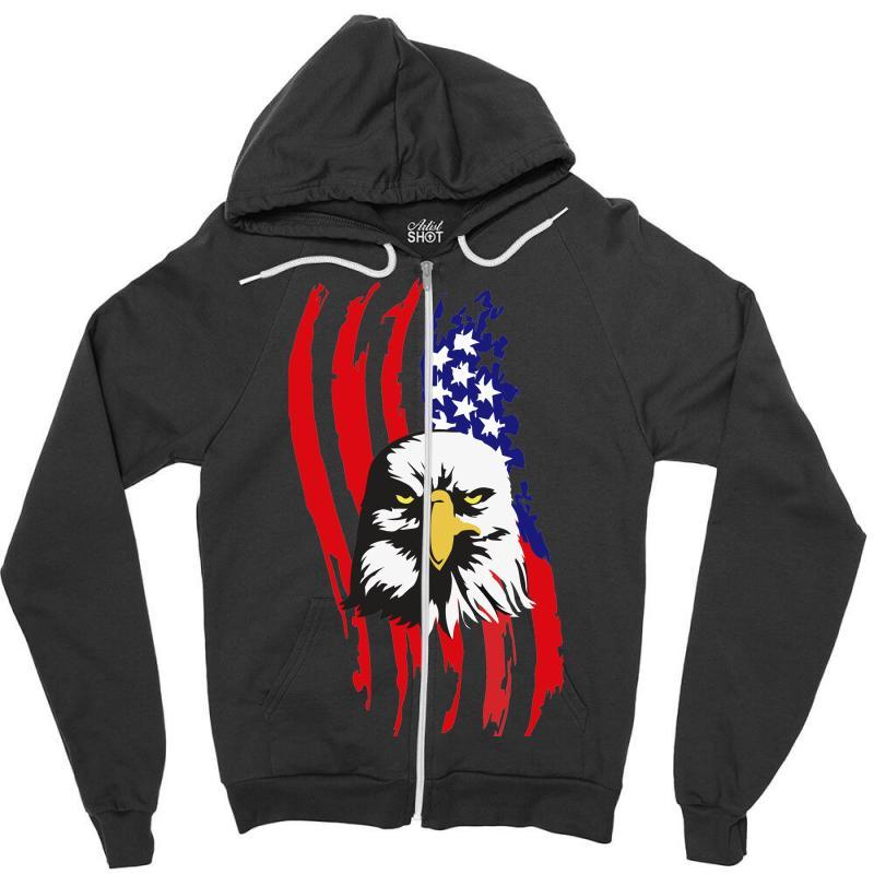 4ddcc3485 Custom American Eagle Usa Flag Head Zipper Hoodie By Sbm052017 - Artistshot