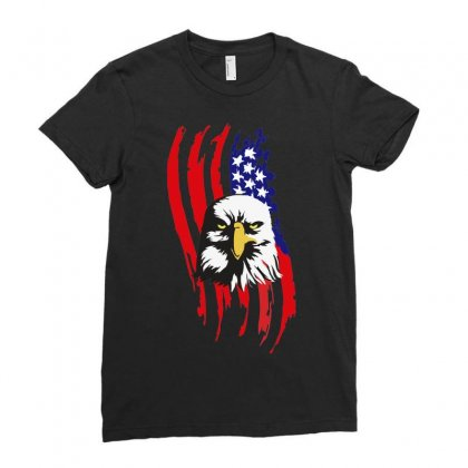American Eagle Usa Flag Head Ladies Fitted T-shirt Designed By Sbm052017