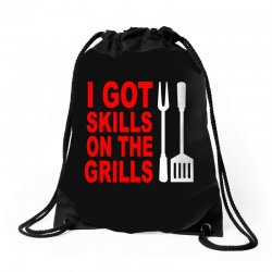 got skills on the grills apron Drawstring Bags | Artistshot