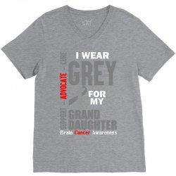 I Wear Grey For My Grand Daughter (Brain Cancer Awareness) V-Neck Tee   Artistshot