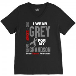 I Wear Grey For My Grandson (Brain Cancer Awareness) V-Neck Tee | Artistshot