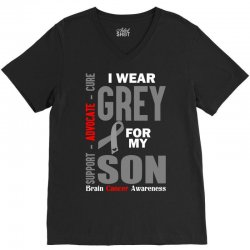 I Wear Grey For My Son (Brain Cancer Awareness) V-Neck Tee | Artistshot