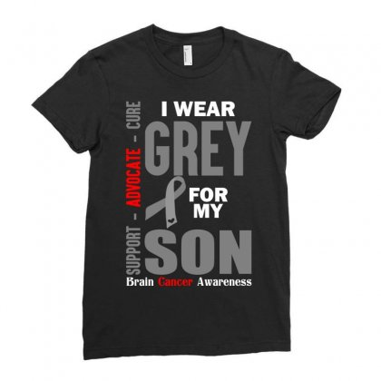 I Wear Grey For My Son (brain Cancer Awareness) Ladies Fitted T-shirt Designed By Tshiart