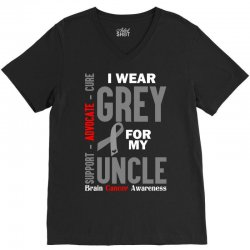 I Wear Grey For My Uncle (Brain Cancer Awareness) V-Neck Tee | Artistshot