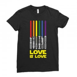 Lightsaber Rainbow - Love Is Love Ladies Fitted T-Shirt | Artistshot