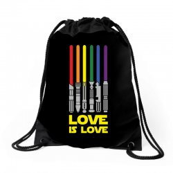 Lightsaber Rainbow - Love Is Love Drawstring Bags | Artistshot