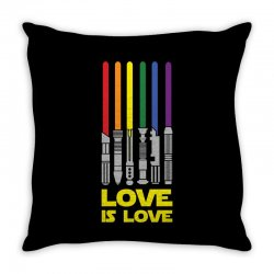 Lightsaber Rainbow - Love Is Love Throw Pillow | Artistshot