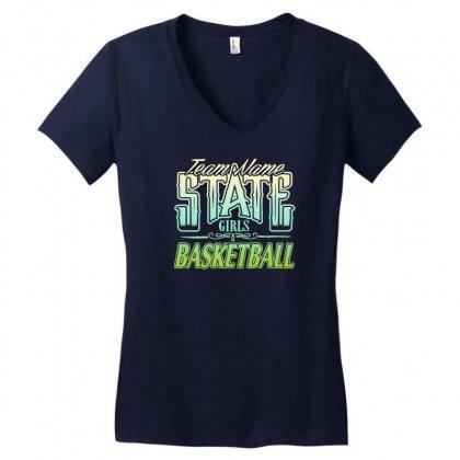 State Girls Basketball Women's V-neck T-shirt Designed By Buckstore