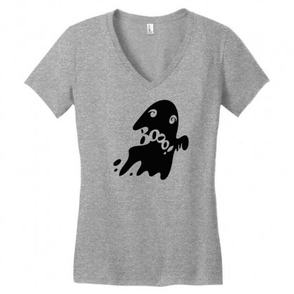 Halloween Card With Spooky Boo Women's V-neck T-shirt Designed By Thesamsat