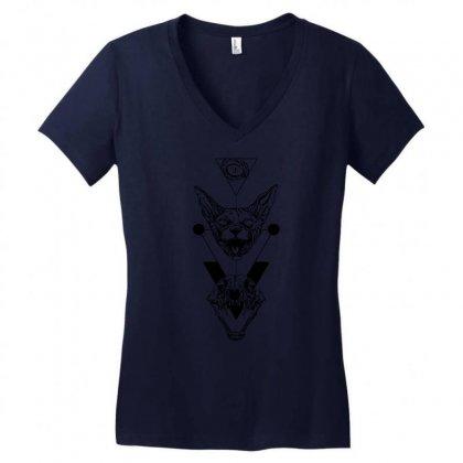 Eye Cat And Skull Women's V-neck T-shirt Designed By Specstore