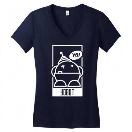 Yobot Frame Women's V-neck T-shirt Designed By Specstore