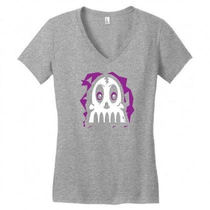Purple Skull Women's V-neck T-shirt Designed By Specstore