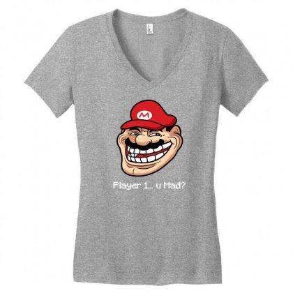 Player 1 U Mad Women's V-neck T-shirt Designed By Specstore