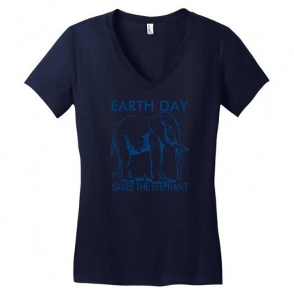Earth Day Saves The Elephant Women's V-neck T-shirt Designed By Ditreamx