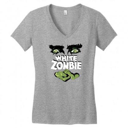 White Zombie Women's V-neck T-shirt Designed By Ditreamx