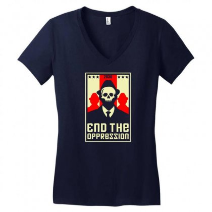 End The Oppression Women's V-neck T-shirt Designed By Chilistore