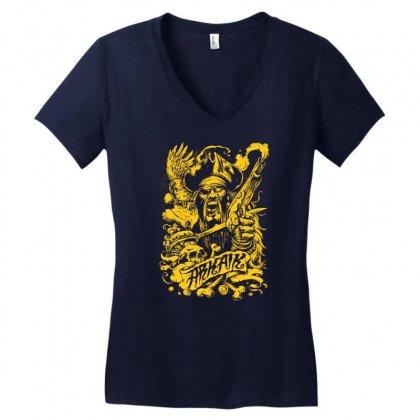 Arkaik Pirate Women's V-neck T-shirt Designed By Mdk Art