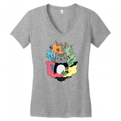 Abstracat Women's V-neck T-shirt Designed By Specstore