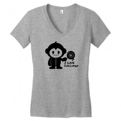 Monkeystein And Lollipop Women's V-neck T-shirt Designed By Specstore