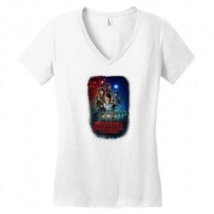 Stranger Things Poster Women's V-neck T-shirt Designed By Vr46