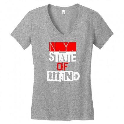 Ny State Of Mind Women's V-neck T-shirt Designed By Mdk Art