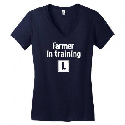Farmer In Training Women's V-neck T-shirt Designed By Mdk Art