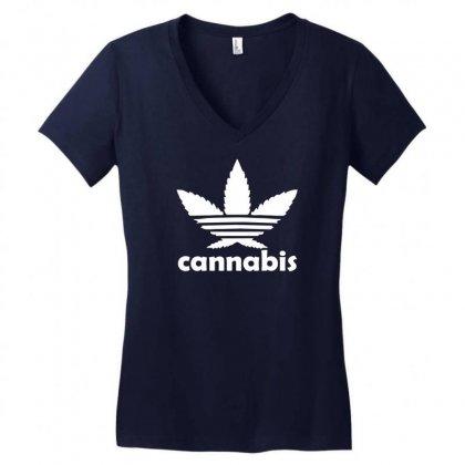 Cannabis Women's V-neck T-shirt Designed By Mdk Art