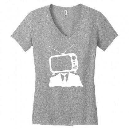 Tv Head Women's V-neck T-shirt Designed By Marla_arts