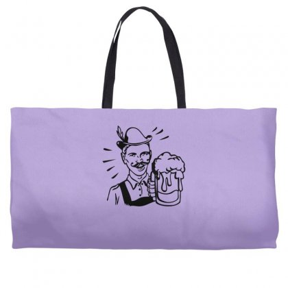 Retro Guy With Beer Weekender Totes Designed By Specstore