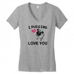 love you  pug Women's V-Neck T-Shirt | Artistshot