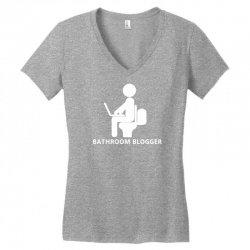 funny bathroom blogger Women's V-Neck T-Shirt | Artistshot