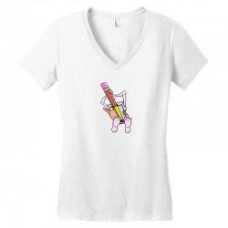 Funny cartoon pencil sharpener Women's V-Neck T-Shirt   Artistshot