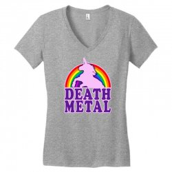 funny death metal unicorn rainbow Women's V-Neck T-Shirt | Artistshot
