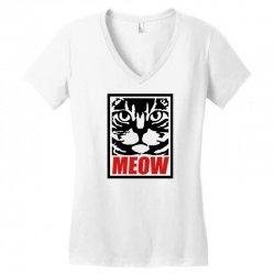 funny cat meow Women's V-Neck T-Shirt | Artistshot