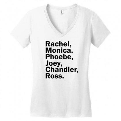 Rachel, Monica, Phoebe, Joey, Chandler,ross. Women's V-neck T-shirt Designed By Designbysebastian